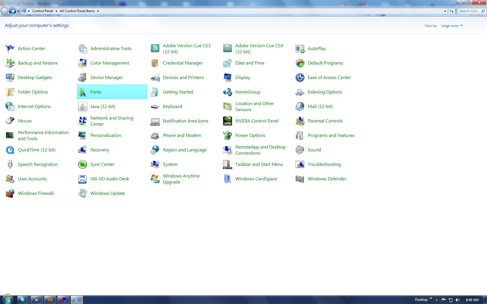 Windows Control Panel Screen Shot