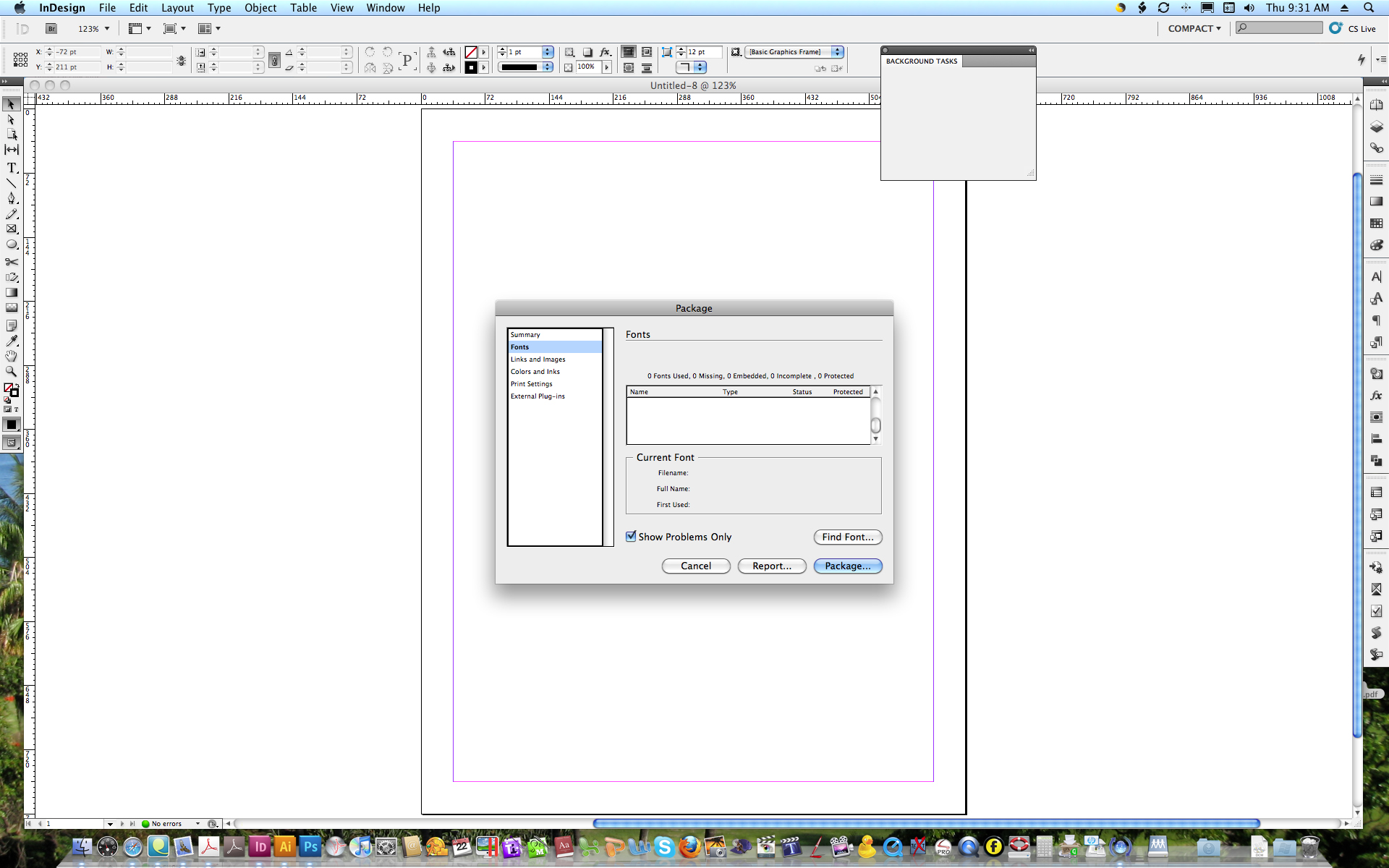InDesign Package Window